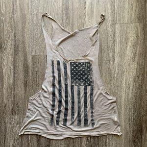 Oversized Muscle T-shirt American Flag Grey Medium